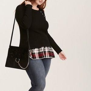 Torrid Ribbed Knit Plaid Trim Layered Sweater